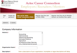 Image: Aztec Career Connection employers registration page