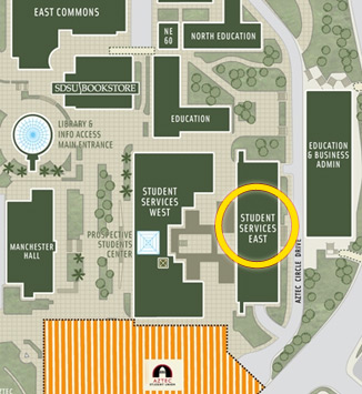 SDSU campus map with Career Services office highlighted