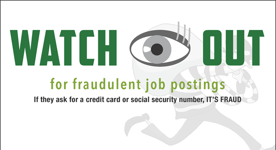 Fraudulent Job Postings warning image