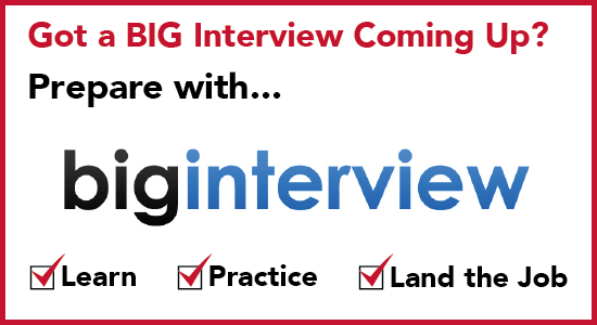 Big Interview video practice interview system promotional flyer