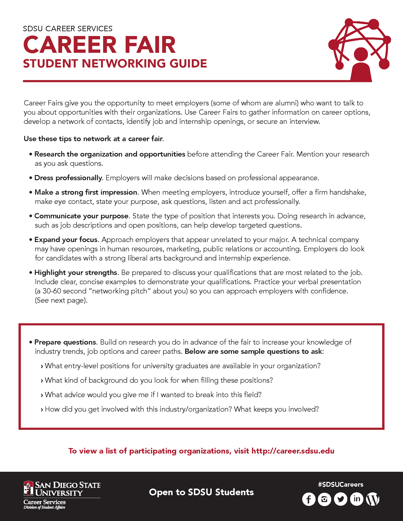 SDSU Career Fair Student Networking Guide page 1