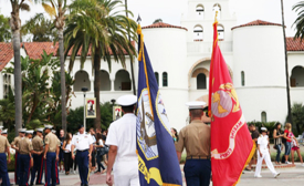 Photo: Vets on parade on campus