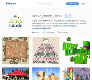 screen shot of the the Active Minds instagram page