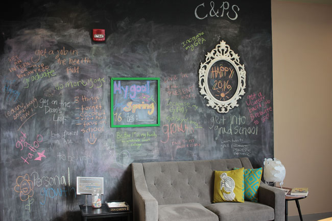 photo of the Center for Well Being blackboard