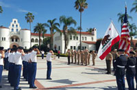 photo of a flag-raising ceremony