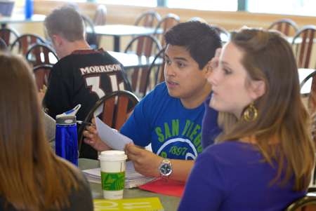 Photo: students having lunch at tables