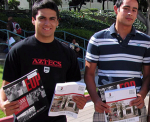Photo: SDSU students carrying EOP fliers