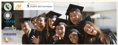 Photo of students in cap and gown: California Student Aid Commission middle class scholarship