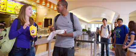 Photo: students in line in East Commons Panda Express
