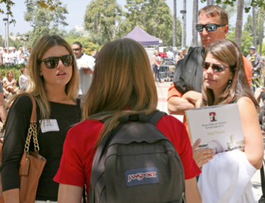Photo: parents and student with SDSU tour guide