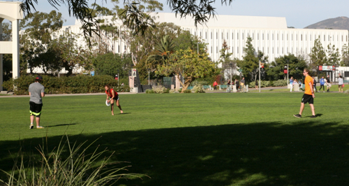 Photo: 3 students on grass playing frisbee