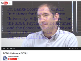 Photo of YouTube video: James Lange discusses AOD Initiatives at SDSU