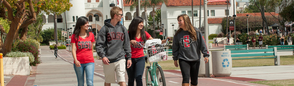 students walking on Campanile Walkway