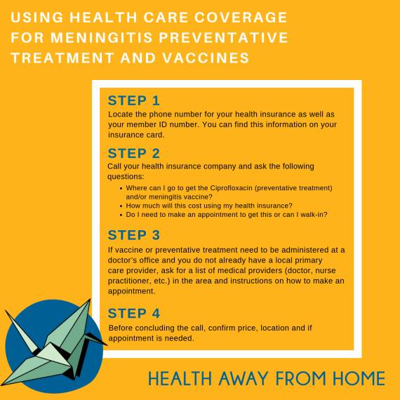 using health care coverage for meningitis preventative care - see long descript