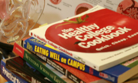 Photo of books: Healthy college cookbook and eating well on campus