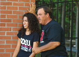 SDSU student and her father