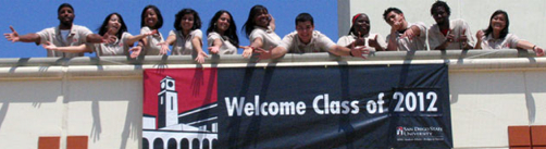 Photo: Welcome Class of 2012 banner with students