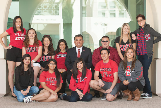 Vice President Eric Rivera with a group of students