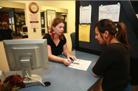 Photo: Financial Aid assistance at front counter