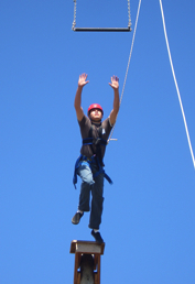 Photo: Student on highwire in leadership activity