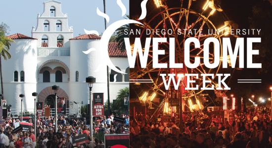 welcome week photo with hepner hall and ferris wheel