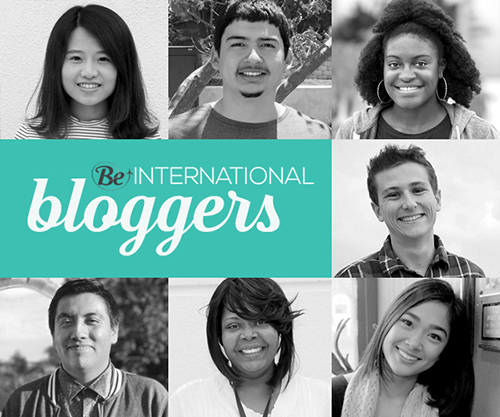 Be International Bloggers logo compiling student portraits