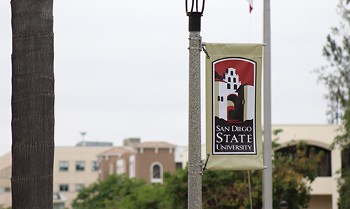 SDSU banner on campus along Campanile Walkway