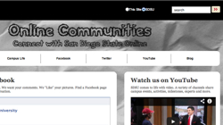 Screen shot of the Online COmmunities web page