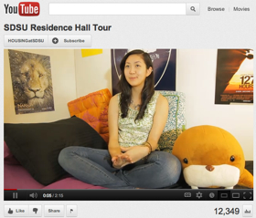 Photo:  YouTube video of Residence Hall Tour