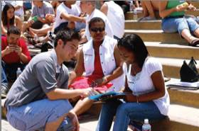 Photo: Orientation at SDSU, student helping new student