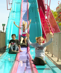 Photo: students on slide