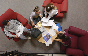 Photo: Students studying in library