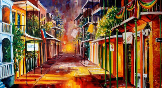 colorful drawing of a New Orleans street scene