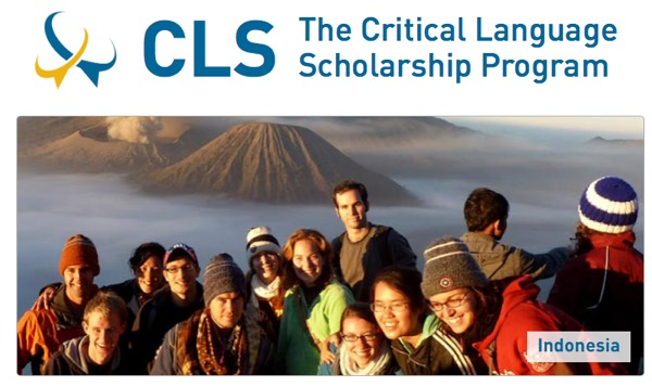 Image: Photo of student posing with goup in Indonesia and words: CLS Critical Language Scholarship Program