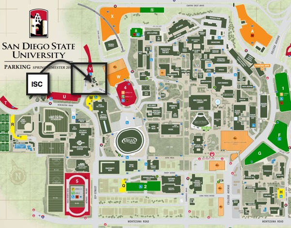 Map graphic: SDSU map showing location of International Student Center (ISC)