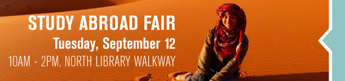 study abroad fair September 12, 10am - 2pm at North Library Walkway