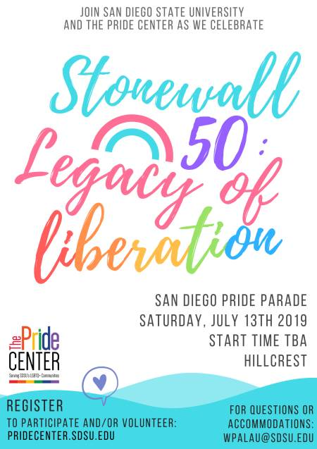 Join SDSU & Pride Center to celebrate Stonewall 50- see details below