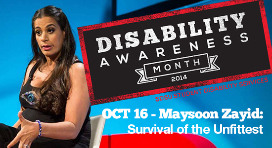 Disability Awareness Month 2014 logo  and photo of Maysoon Zayid