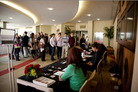 photo: students at the registration tables