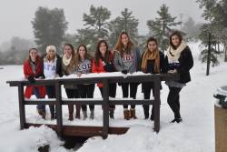 A grtoup of students in the snow