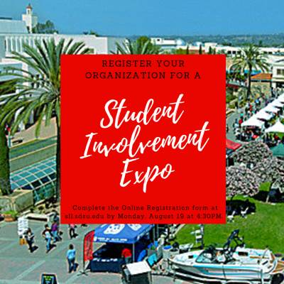 register your org for a student involvement expo w/photo of campus. see details below.
