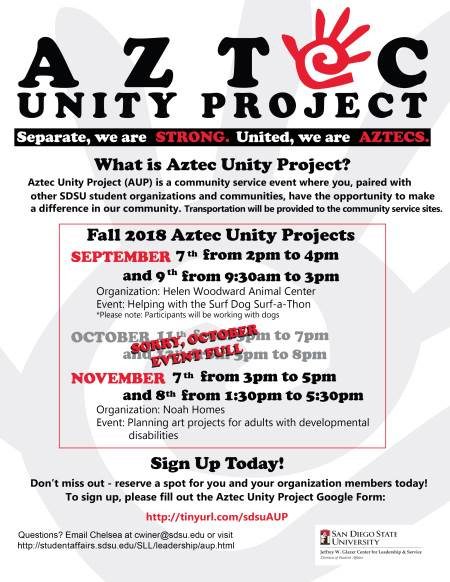 aztec unity project flyer - see below for details