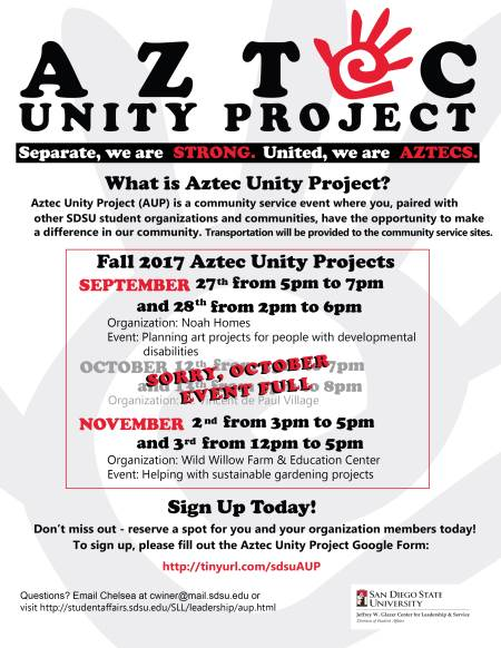 Aztec Unity Project Sept 27 and 28. October Event is full. sign up at http://tinyurl.com/sdsuAUP