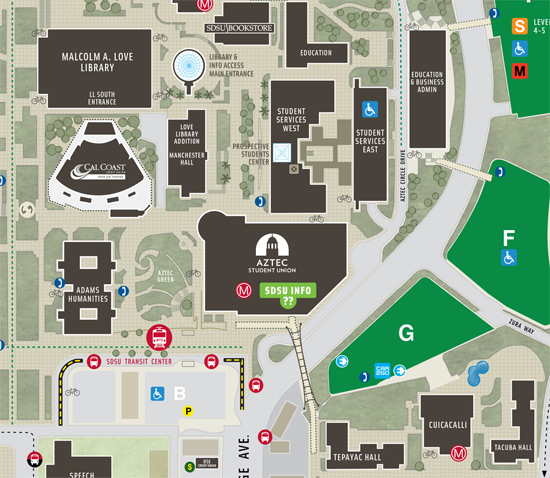 SDSU campus map showing the location of the student union