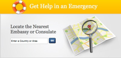 Image: Get help in an emergency. Locate the nearest embassy or consulate. Enter a country or area. Go.
