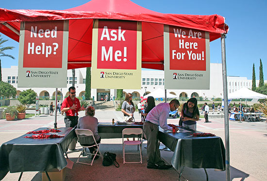 photo: Ask Me tent on Centennial Walkway