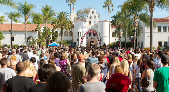 photo: crowd gathered in front of Hepner Hall