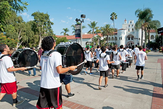 The marching band in front of Hepner Hall