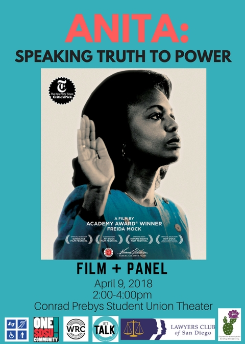 anita speaking truth to power: Film/panel apr 9 @2p Student Union Theatre