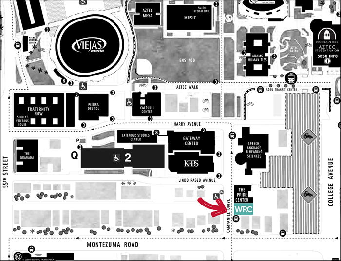map showing WRC location next to Pride Center on Campanile Dr & Montezuma Rd